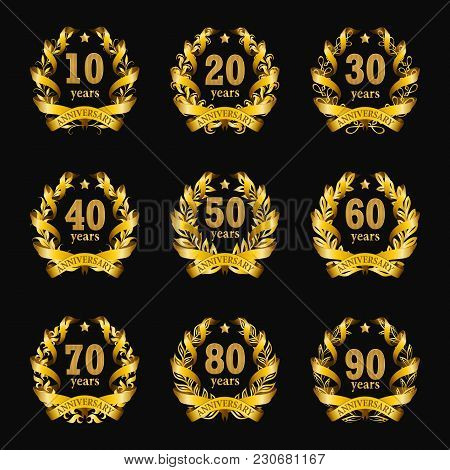 Set Of Gold Anniversary Badges With Laurel Wreaths, Numbers. Decorative Emblem Of Jubilee On Black B