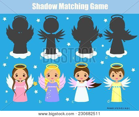Shadow Matching Game For Children. Find The Right Shadow. Kids Activity With Cute Angels