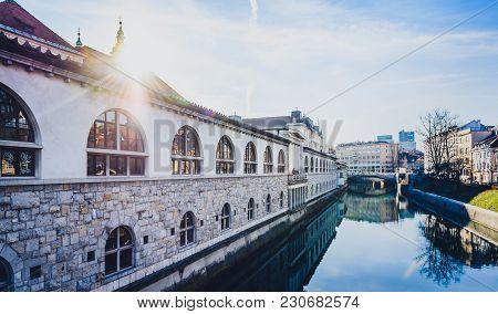 Ljubljanica River With Old Central Market And Triple Bridge, Ljubljana.