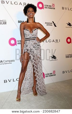 LOS ANGELES - MAR 4:  Ebonee Davis at the 2018 Elton John AIDS Foundation Oscar Viewing Party at the West Hollywood Park on March 4, 2018 in West Hollywood, CA