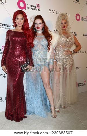 LOS ANGELES - MAR 4:  Farrah Abraham, Phoebe Price, Sophia Vegas Wollersheim at the 2018 Elton John Oscar Viewing Party at the West Hollywood Park on March 4, 2018 in West Hollywood, CA