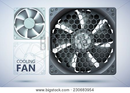 Computer Cooling System Template With Realistic Ventilators With And Without Grid On Gray Background