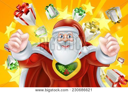 Cartoon Santa Claus Christmas Superhero Character With Presents And Stars In The Background