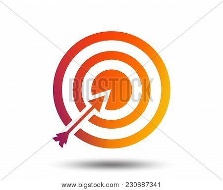 Target Aim Sign Icon. Darts Board With Arrow Symbol. Blurred Gradient Design Element. Vivid Graphic