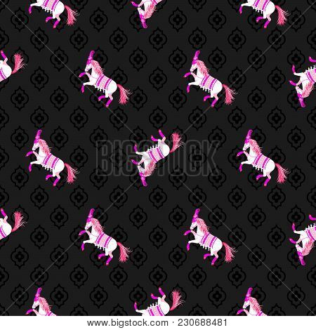 Dark Horse Black And Pink Seamless Vector Pattern. Circus Animal Repeat Background.