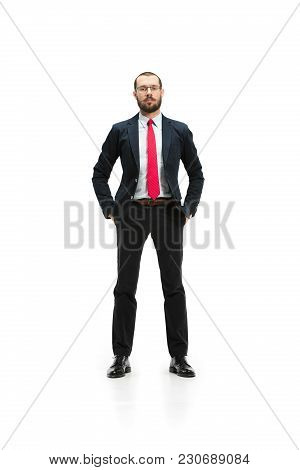 Full Body Or Full-length Portrait Of Businessman On White Studio Background. Serious Bearded Young M