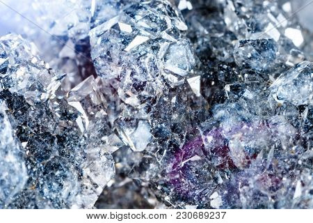 Macro Shooting Of Natural Gemstone. Raw Mineral Apophyllite. The Texture Of The Stone. Abstract Back
