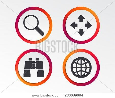 Magnifier Glass And Globe Search Icons. Fullscreen Arrows And Binocular Search Sign Symbols. Infogra