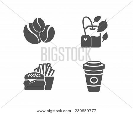 Set Of Burger, Mint Bag And Coffee-berry Beans Icons. Takeaway Coffee Sign. Cheeseburger, Mentha Tea