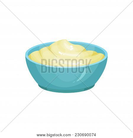 Blue Ceramic Dip Bowl Filled With Creamy Cheese Sauce. Delicious Cooking Ingredient. Traditional Gar
