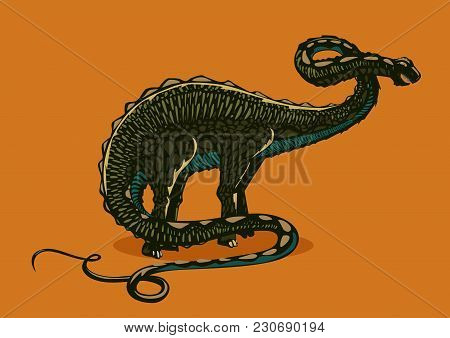 Color Brontosaurus. Dinosaur Apatosaurus Silhouette On Isolated Background. Engrave Style.