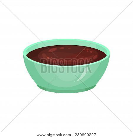 Delicious Chocolate Sauce In Ceramic Dip Bowl. Homemade Syrup Made From Cacao. Good For Pancakes, Ic