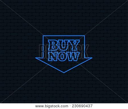 Neon Light. Buy Now Sign Icon. Online Buying Arrow Button. Glowing Graphic Design. Brick Wall. Vecto