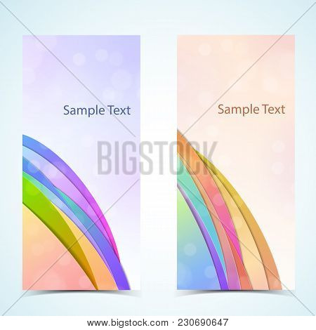 Card Vertical Realistic Banners Set With Sample Text Isolated Vector Illustration