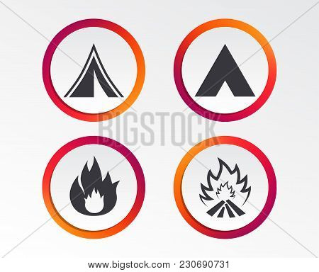 Tourist Camping Tent Icons. Fire Flame Sign Symbols. Infographic Design Buttons. Circle Templates. V