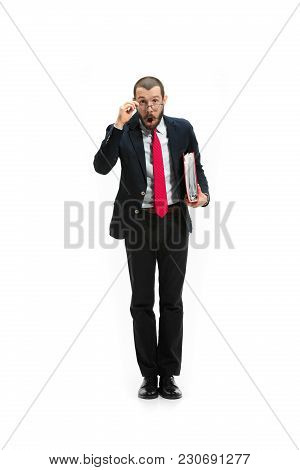Full Body Or Full-length Portrait Of Businessman On White Studio Background. Surprised Bearded Young