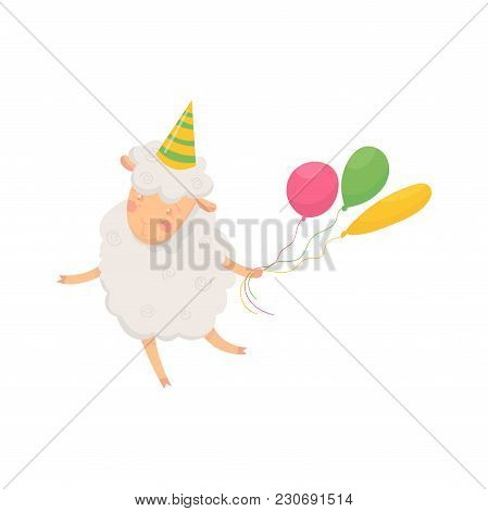 Happy Fluffy Sheep With Conical Party Hat On Head Holding Three Colorful Air Balloons. Cartoon Chara