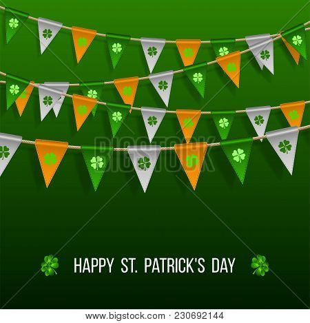 Colorful Festive Bunting With Clover On Green Background. Irish Holiday - Happy Saint Patricks Day B