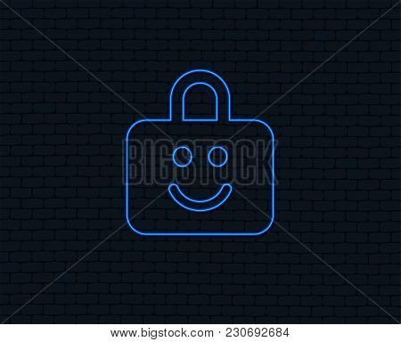 Neon Light. Child Lock Icon. Locker With Smile Symbol. Child Protection. Glowing Graphic Design. Bri