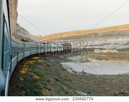Arid Steppe Landscape From The Window Of A Train