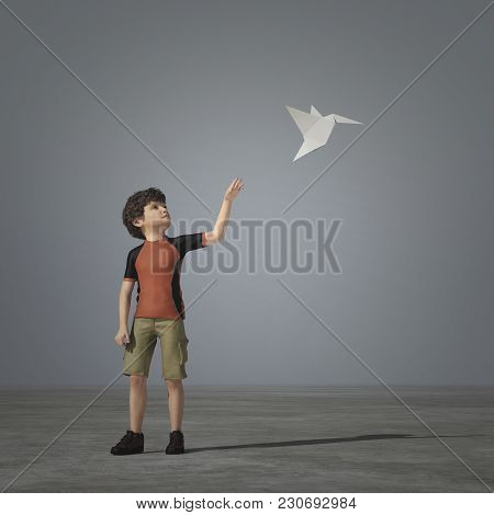 Little Boy Is Playing With A Paper Airplane - Origami. This Is A 3d Render Illustration