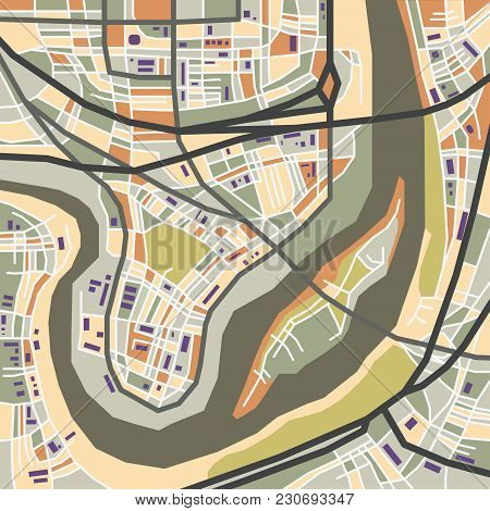 Vector Flat Abstract City Map, Decorative Map With Colorful Areas