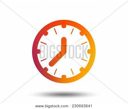 Clock Time Sign Icon. Mechanical Watch Symbol. Blurred Gradient Design Element. Vivid Graphic Flat I