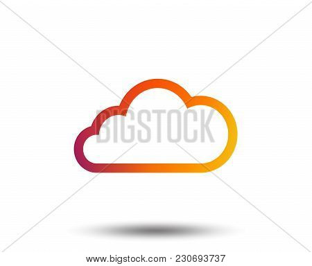 Cloud Sign Icon. Data Storage Symbol. Blurred Gradient Design Element. Vivid Graphic Flat Icon. Vect