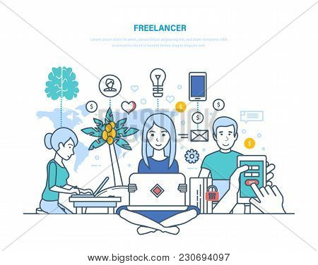 Concept Of Freelancers And Remote Work. Modern Workplace Of Freelancer, Equipment, Technical Equipme