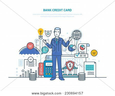 Credit Bank Card. Payment By Bank Card, Secure Transactions, Online Banking, Payment Terminals, Mone