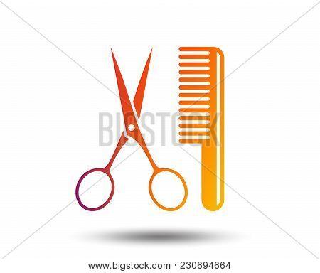 Comb Hair With Scissors Sign Icon. Barber Symbol. Blurred Gradient Design Element. Vivid Graphic Fla