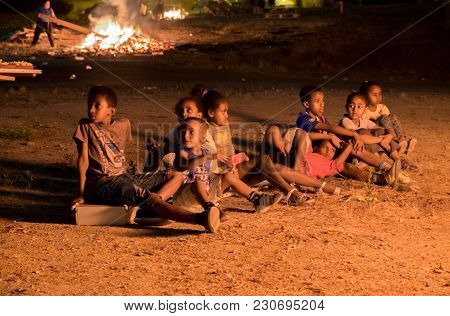 Beer-sheva, Israel - April 14, 2017: Little Jewish Ethiopian Childs Celebrate Jewish Holiday Of Lag