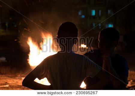Little Jewish Boys Do Bonfire At Jewish Holiday Of Lag Baomer