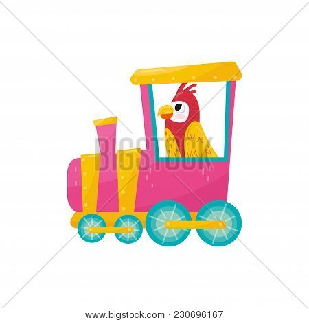 Parrot With Pink Cheeks And Yellow Wings Riding On Train. Funny Tropical Bird. Cartoon Animal Charac