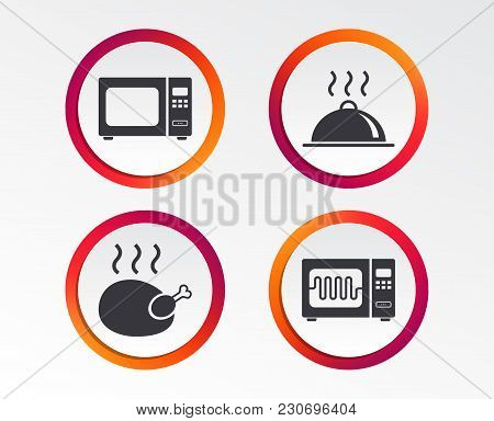 Microwave Grill Oven Icons. Cooking Chicken Signs. Food Platter Serving Symbol. Infographic Design B