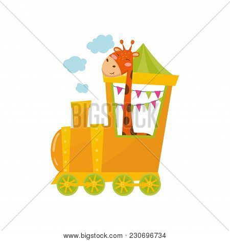 Funny Spotted Giraffe In Yellow Train. Cartoon Character On Wild Animal. Graphic Design For Postcard