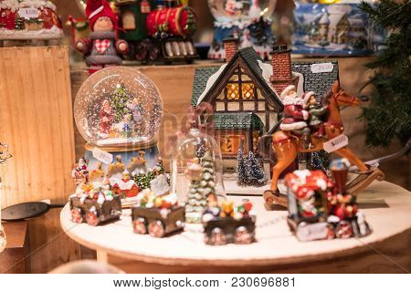 Snow Globes And Souvenir In Christmas Market, London, United Kingdom