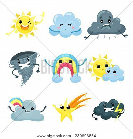Set Of Weather Forecast Icons With Funny Faces. Cartoon Character Of Friendly Sun, Cute Rainbow, Fal
