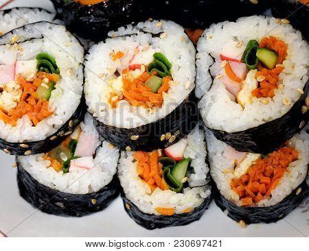 Korean food, gimbap. Close-up.