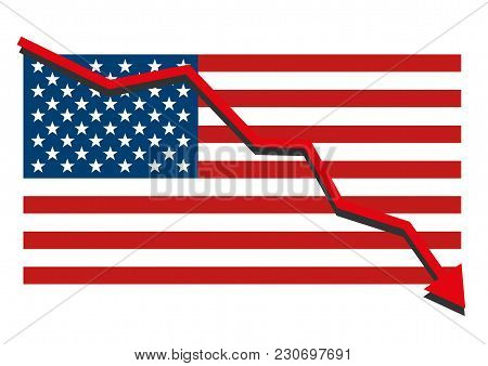American Usa Flag With Red Arrow Graph Going Down Showing Economy Recession And Shares Fall. Isolate