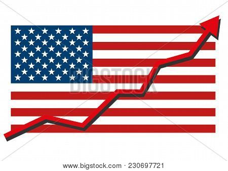 American Usa Flag With Red Arrow Graph Going Up Showing Strong Economy And Shares Rise. Profit And S