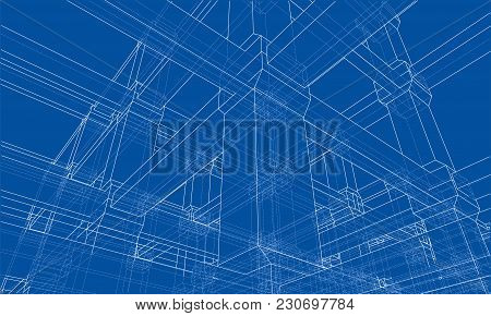 Abstract Architecture. Vector Rendering Of 3d. Wire-frame Style. The Layers Of Visible And Invisible