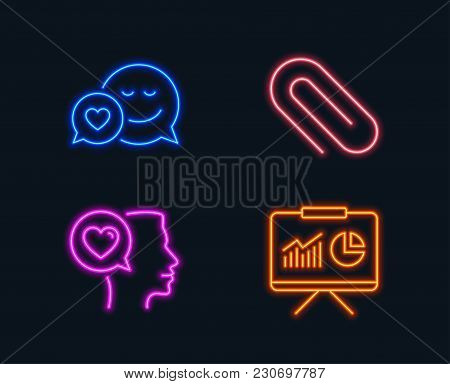 Neon Lights. Set Of Dating, Paper Clip And Romantic Talk Icons. Presentation Sign. Love Messenger, A