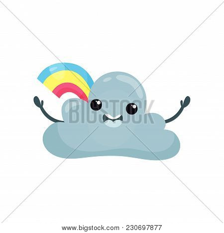 Happy Humanized Cloud With Wide Open Arms And Rainbow Behind Him. Cute Weather Emoji. Cartoon Design