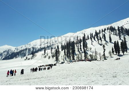 Scenic Of Tourists, Activities And Beautiful Snow At Gulmarg; A Popular Skiing Destination And A Not