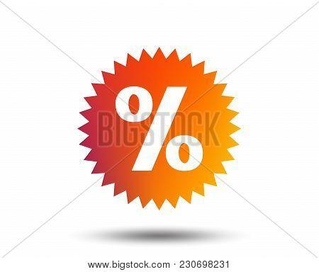 Discount Percent Sign Icon. Star Symbol. Blurred Gradient Design Element. Vivid Graphic Flat Icon. V