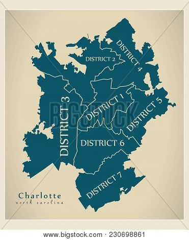Modern City Map - Charlotte North Carolina City Of The Usa With Boroughs And Titles
