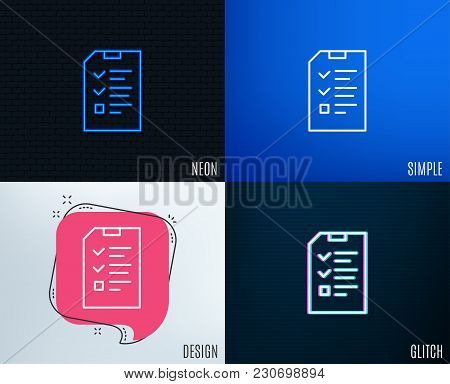 Glitch, Neon Effect. Checklist Document Line Icon. Information File Sign. Paper Page Concept Symbol.
