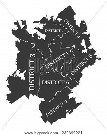 Charlotte North Carolina City Map Usa Labelled Black Illustration