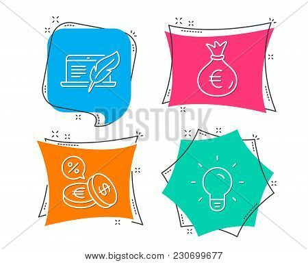 Set Of Money Bag, Copyright Laptop And Currency Exchange Icons. Light Bulb Sign. Euro Currency, Writ